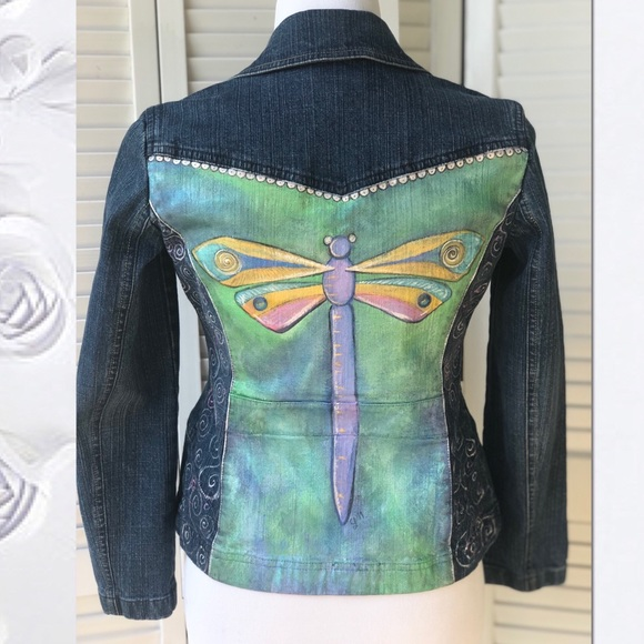 LOFT Jackets & Blazers - Hand painted Dragon Fly Denim Jacket by Loft Sz 0p